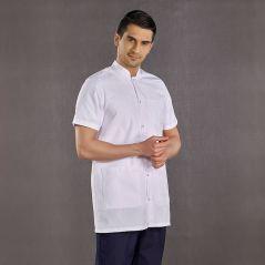 Men's Judge Collar Top White Bottom Navy Blue Suit (Alpaca Fabric)