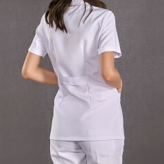 Women's Short Sleeve Short Classic Collar Doctor Apron (Alpaca Fabric)
