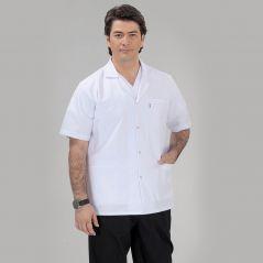 Men's Classic Collar Short Sleeve Short Apron (Tericoton Thin Fabric)