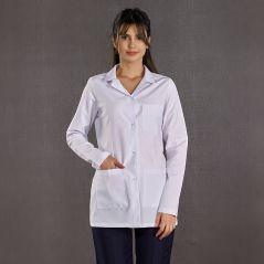 Women's Long Sleeve Classic Collar Top White Bottom Navy Blue Suit (Alpaca Fabric)