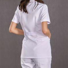 Women's Short Sleeve Short Classic Collar Apron (Tericoton Thin Fabric)