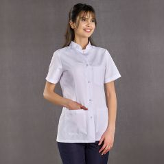Women's Judge Collar Top White Bottom Navy Blue Suit (Alpaca Fabric)